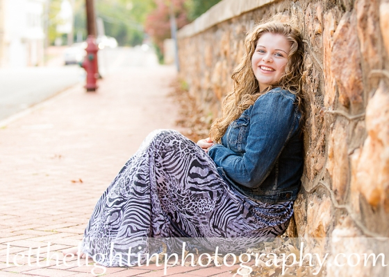 Senior girl in a dress leaning against a stone wall taken by local photographer Wendy Atkinson