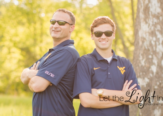 Dad and son with sunglasses on before son goes to West Virginia University, same college as dad.