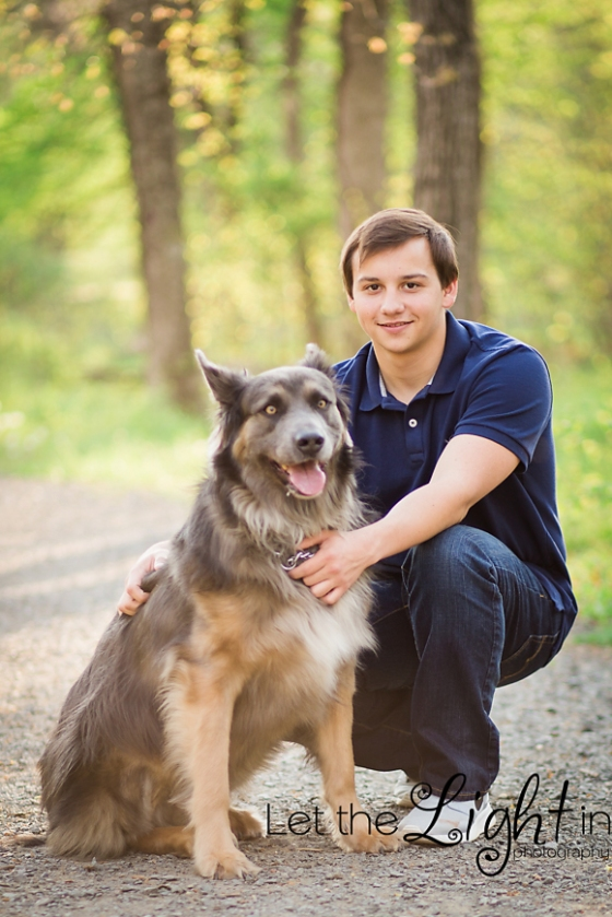 Guy posing with his dog for portraits near Manassas Virginia
