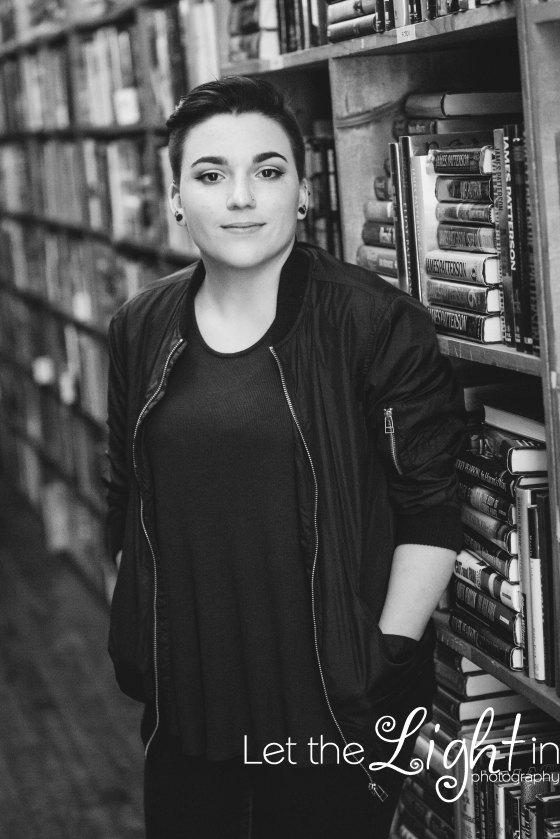 Senior Portraits in a Book Store in Old Town Manassas Virginia Black and white image